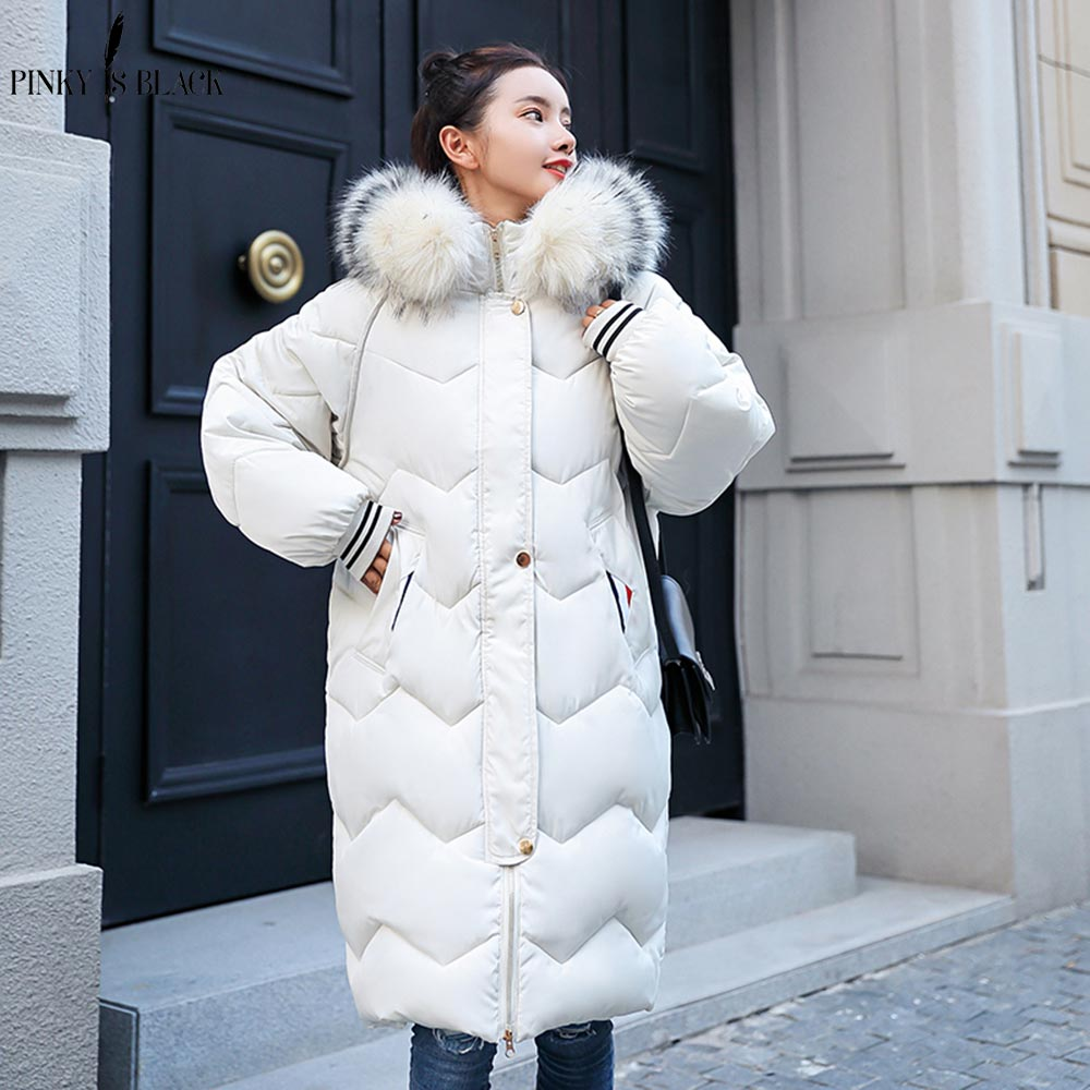 PinkyIsblack 2018 New Winter Jackets Women Coats Big Fur Collar Hooded Down Jacket Warm Long   Parkas   Women Thicken Cotton Jacket