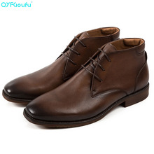 QYFCIOUFU 2019 High Quality Genuine Leather Chelsea Boots Men Italian Brand Vintage Ankle Fashion Dress Shoes