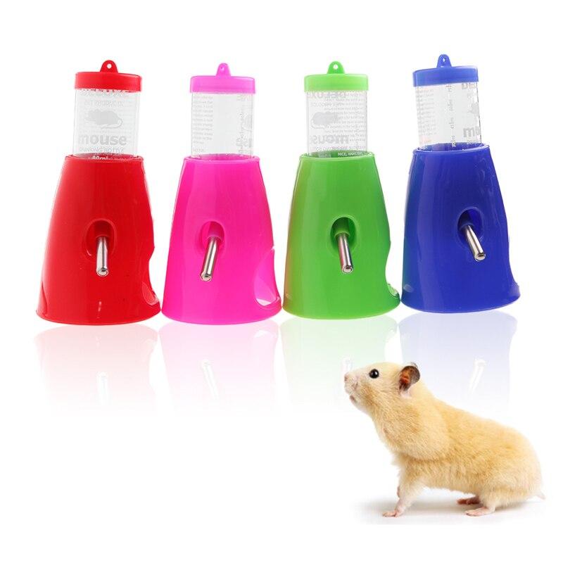 2 In 1 Hamster Water Bottle Holder 80ML Dispenser With Base Hut Small Pet Nest Color Random