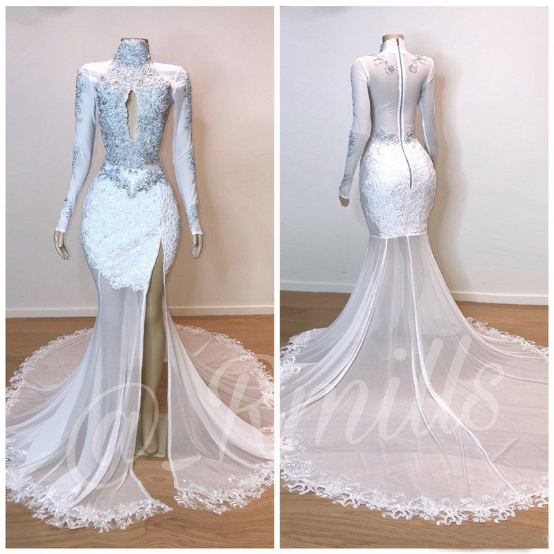 2019 High Neck Lace Mermaid Prom Dresses Long Sleeves Lace Applique Beaded Split Sweep Train Formal Party Wear Evening Dresses