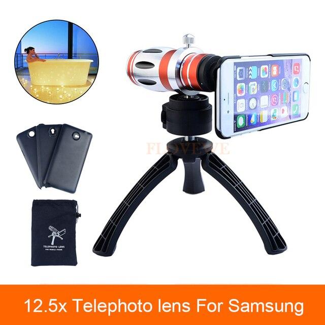 Alta calidad telescopio 12.5x zoom lente telefoto teleobjetivo para samsung galaxy s3 s4 s5 s7 s6 edge plus caso lentes de cámara del teléfono trípode