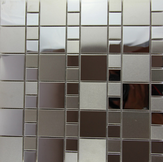 hot sale square silver metal mosaic stainless steel sheet tile ...
