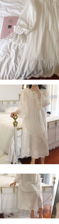 Details about  /Girl Sleep Pajamas suit Lace Cotton Ruffle Court Vintage Princess Sleepwear 1819