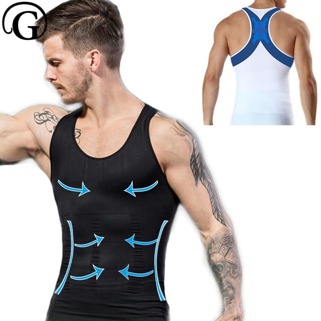 54ea605c5c Male Abdomen waist tummy Trainer Belly Slim Fit Body Shaper Back Cross Tops  Men Gynecomastia Vest Chest Binder Posture Corset