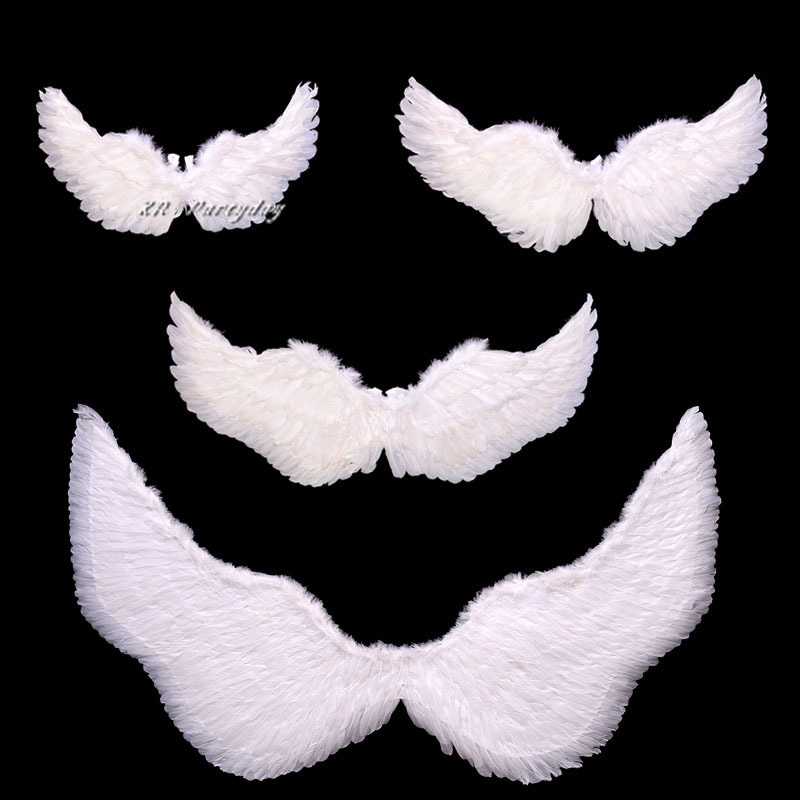 Kids Adult Angel Feather Wings Photo Prop Stage Show  Wedding Party  Kid Birthday Holiday DIY Decorations SML  Christmas