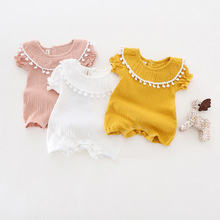 Cute Newborn Baby Girl Romper 2017 Summer short sleeve Princess fur ball Sunsuit One Pieces Tassel Clothes free drop shipping