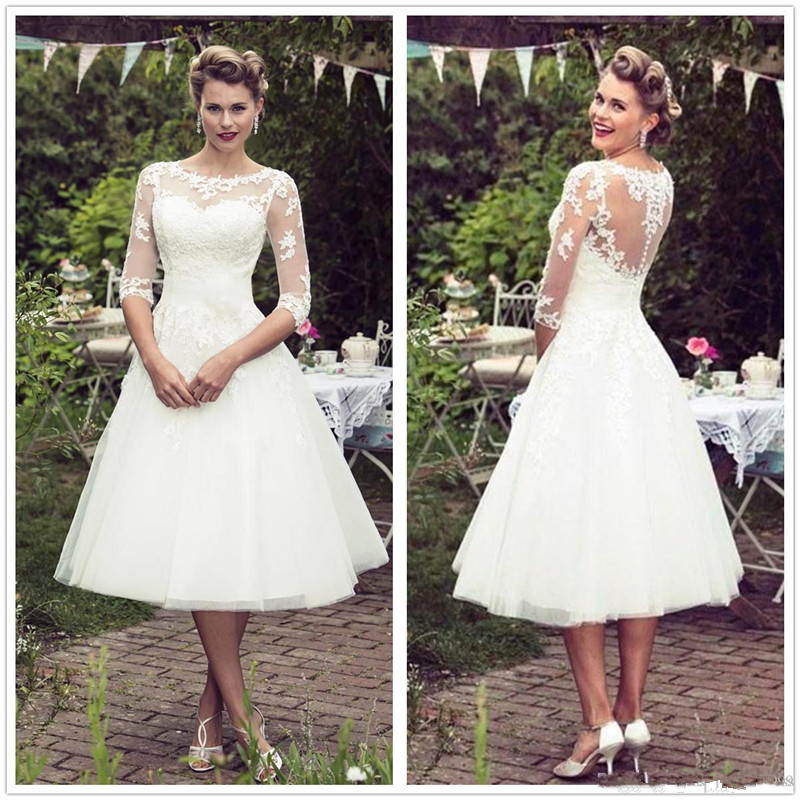 Beach Vestido De Noiva 2019 Muslim Wedding Dresses A-line 3/4 Sleeeve Tea Length Tulle Lace Short Boho Wedding Gown Bridal Dress
