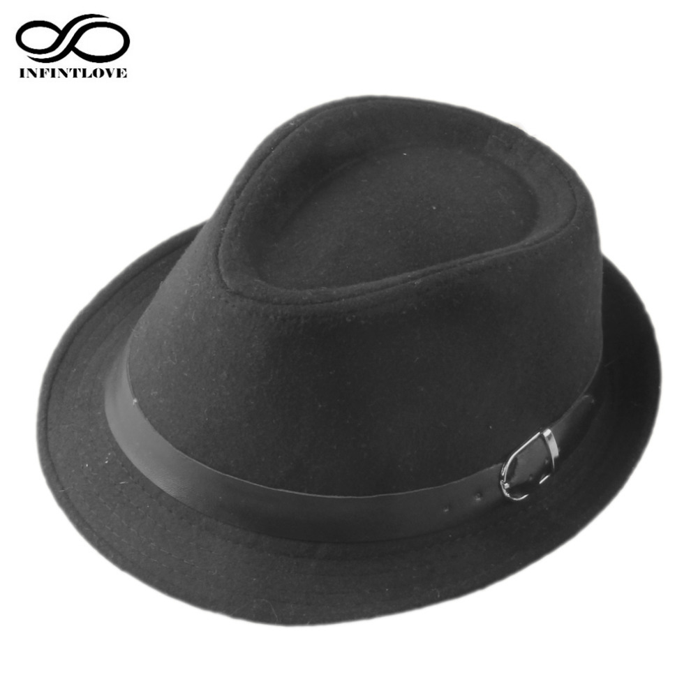 dc06edd5d8e LUCKYLIANJI Men Women Wool Felt Leather Belt Band Fedoras Trilby Panama Jazz  Travel Hat Gangster Cap Chapeu (One Size 58cm)