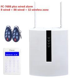 Alarma de industria DIY FC-7688 más TCP IP alarma de seguridad gsm con 96 sistema de alarma inteligente con cable con Control WebIE en cualquier lugar