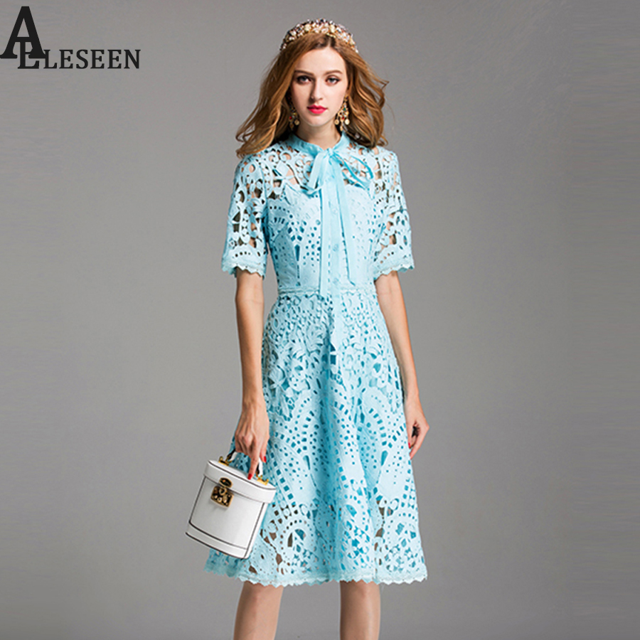 Top Lace Dresses 2017 Summer Fashion New Vintage Hollow Out Bow Stand Collar Short Sleeve Sky Blue & White Cute Elegant Dress