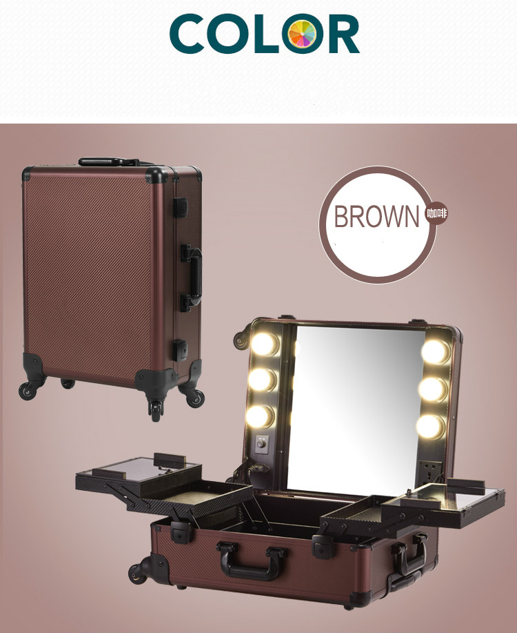 Coffee Makeup Artist Train Case With Lights Pro Station