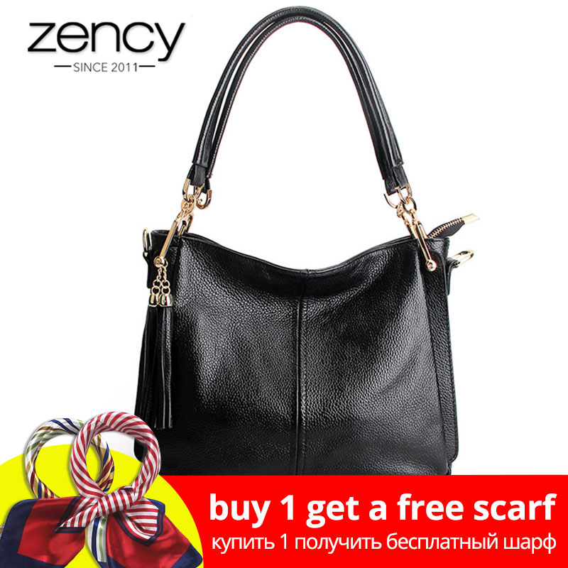 Zency Tassel Women Shoulder Bag 100% Äkta Läder Handväska Elegant Crossbody Väskor Ladies Messenger Purse Hobos Grå Svart