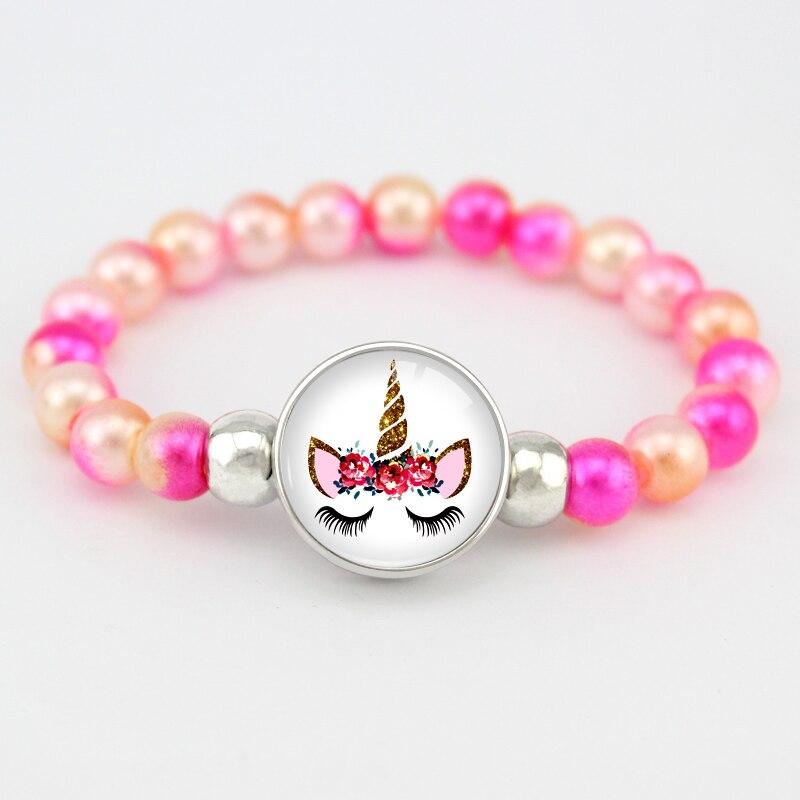 Бусины в виде единорога, браслеты 18 мм, застежка-держатель, пуговицы, купольный кабошон, фламинго, амулеты, трендовые браслеты для девочек, женщин, мальчиков, ювелирное изделие, подарок - Окраска металла: H17096