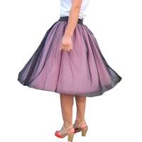 2017 Summer Womens Tulle Skirt Lace Princess Fairy Style 6 layers Pink Transparent Black Fashion Skirt Long Autumn Tutu Skirts