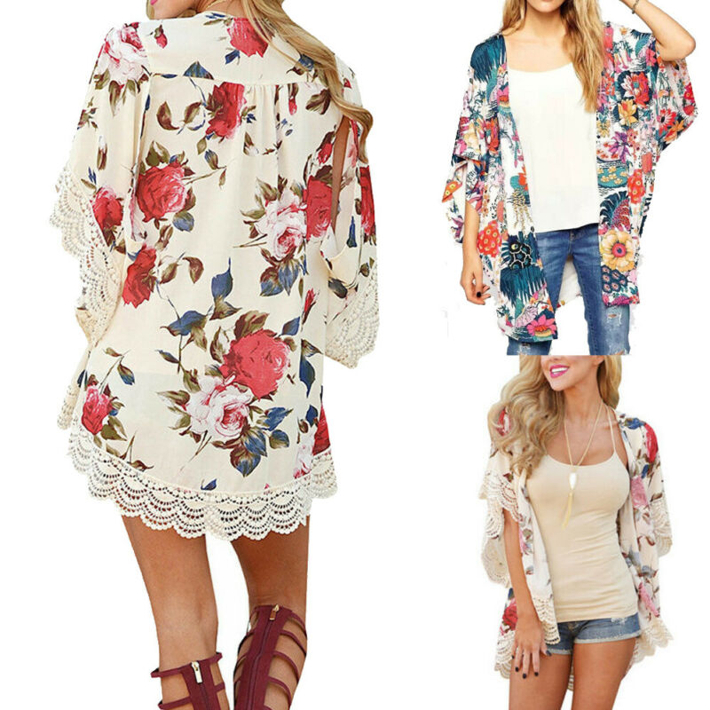 Women Boho Floral Kimono Cardigan Ladies Summer Holiday Loose Coat Tops Blouse