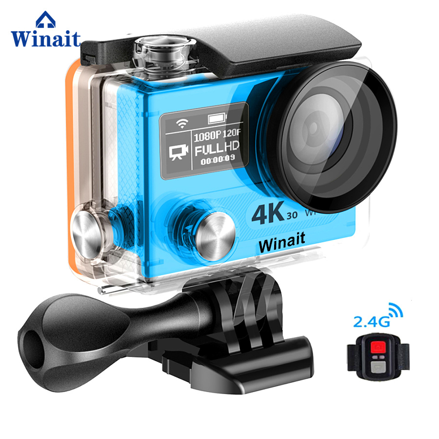 Winait Ultra HD 4K Action A12 4K 3FPS 2.0 LCD Display Pocket Sport Cam Mini DVR 30M Waterproof TF Card Max To 32GB