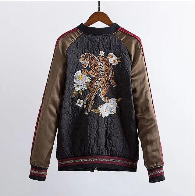 Unpadded satin embroidery bomber jacket women   tiger head embroidery cotton  jacket coat Casual baseball cotton jacket fashion embroidery bomber jacket in black