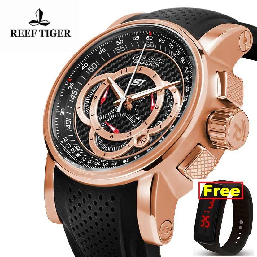 Reef Tiger/RT Designer Sport Watches for Men Rose Gold crystal  Quartz Watch with Chronograph and Date reloj hombre  RGA3063