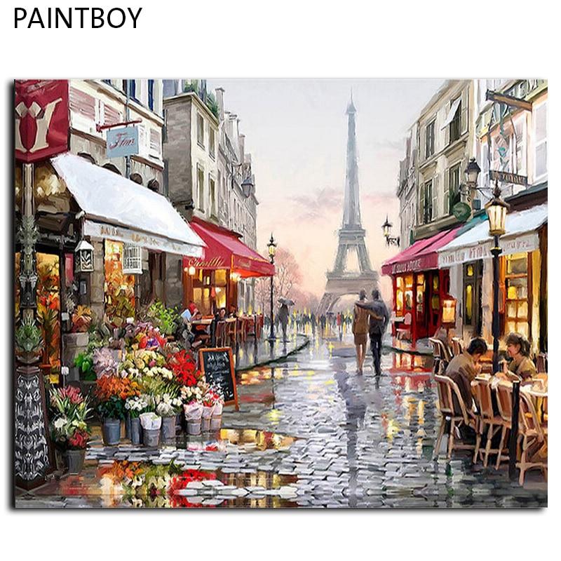 Pintura al óleo enmarcada cuadro pintura por números pintado a mano ...