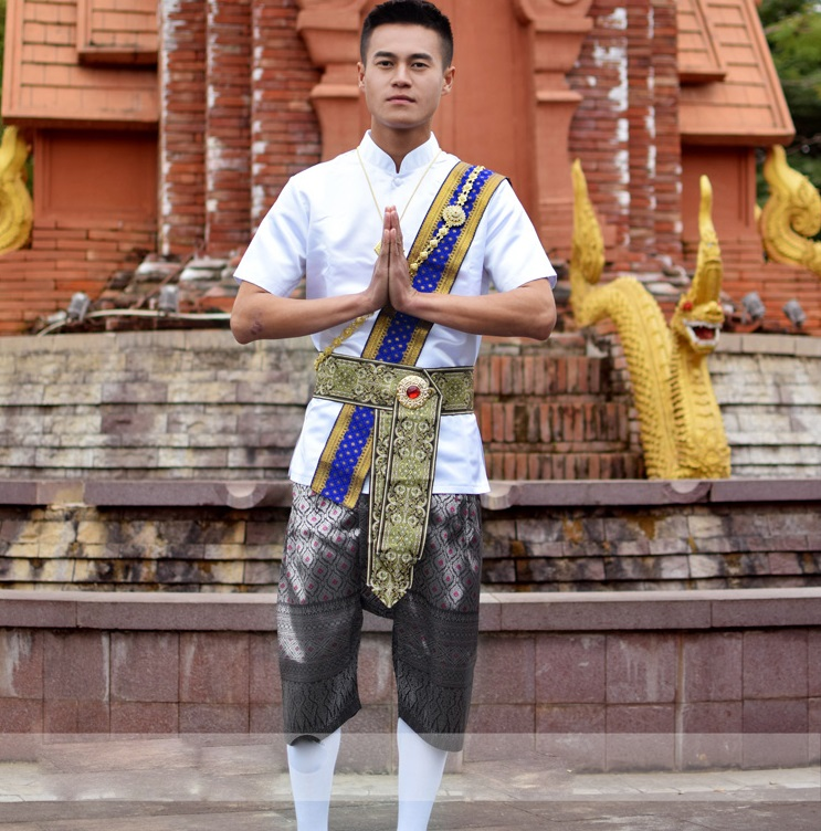 Dai Imperial Prince Outfit Thailand Traditional Men's Wear Water Splashing Show Shirt +Pants + Waistband Photo Travel Show Suits
