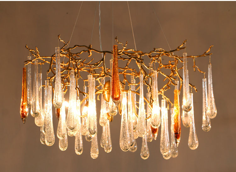 Phube Lighting Large Artistic Branches Chandeliers Coloured Glaze Chandelier Light Hotel Copper In From Lights