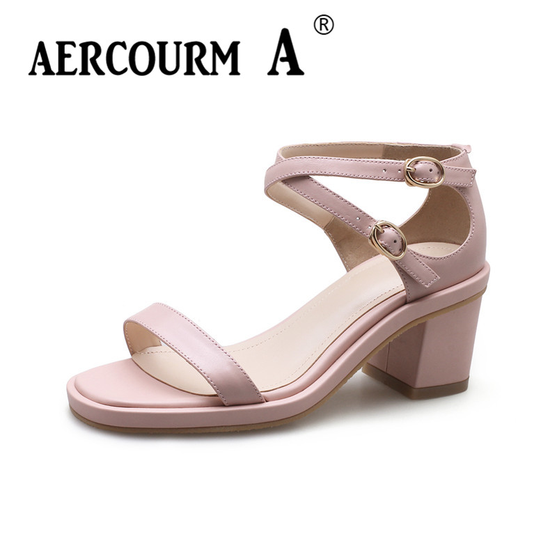 Aercourm A Women Summer Middle-heel Sandals Genuine Leather Sandals Lady Ankle Strap Summer Shoes Square Heel Black Pink Sandals fujin brand 2018 summer shoes for women platform sandals with high heel lady leather shoes footwear pink leather slip on sandals
