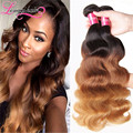 Ombre Hair Extensions 3 Tone Ombre Brazilian Virgin Hair T1B/4/27 Ombre Brazilian Body Wave, Ombre Brazilian Human Hair Bundles