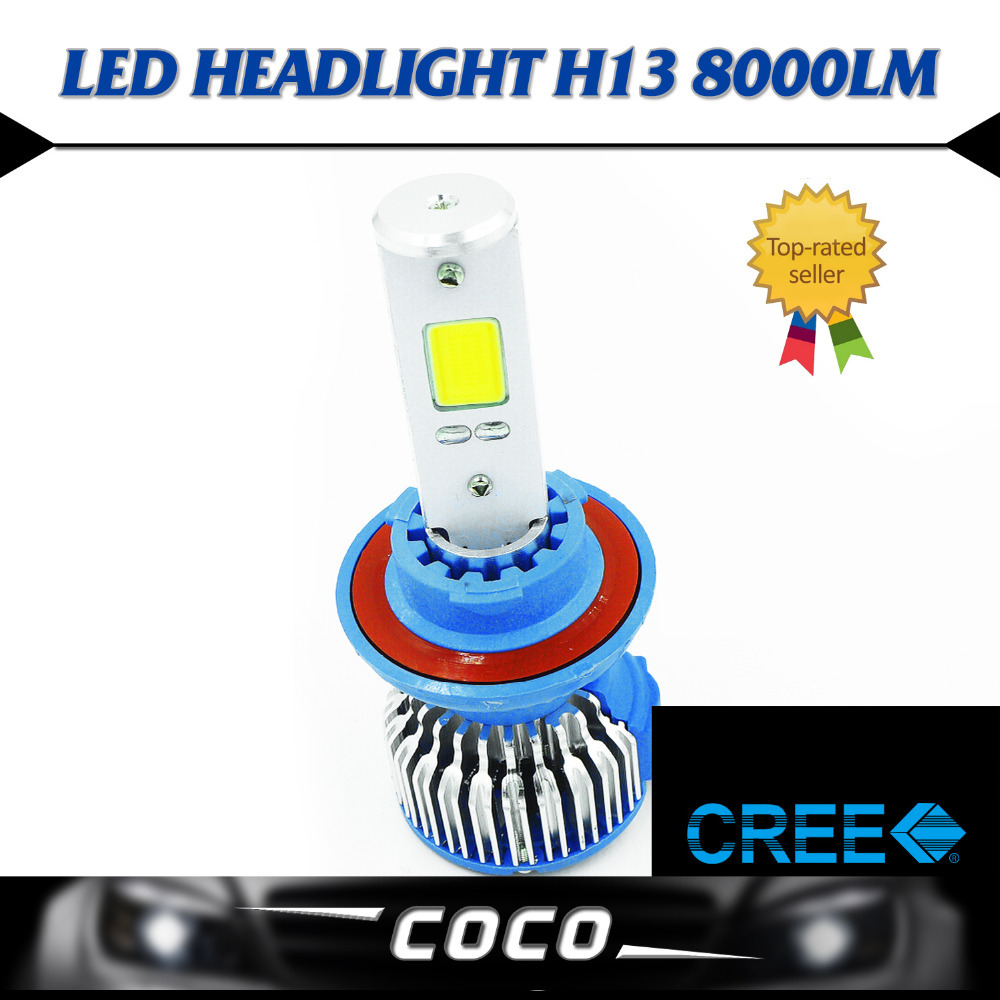 ФОТО Pair Hi Lo Beam Lamp H13 LED COB Headlight Headlamps 60W/Set 8000LM/Set Fog Headlamp Just Plug&Play W/ FANS Light Source