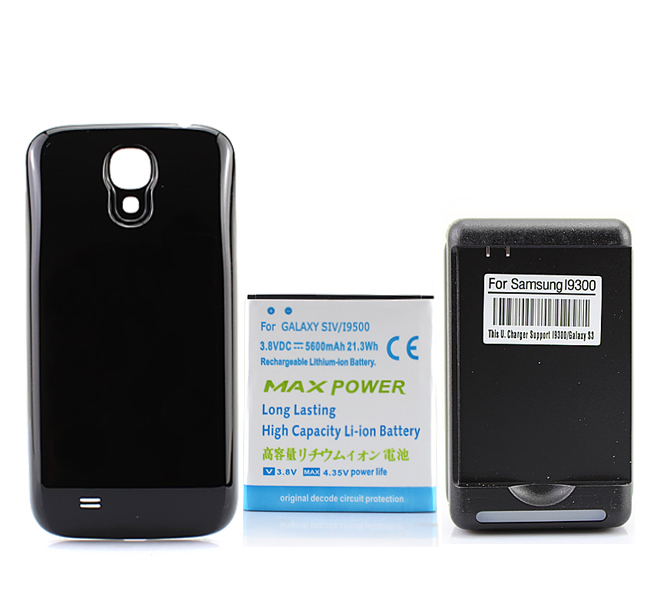 5600 mAh A Prolongé La Batterie Pour Samsung Galaxy S4 SIV i9500 Noir Gros + Noir Cas de Couverture Arrière + USB Mur chargeur