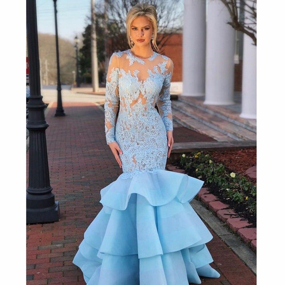 Long Sleeves Mermaid   Prom     Dresses   Sheer Neck Lace Organza Backless Light Sky Blue Evening   Dresses   Formal   Dresses