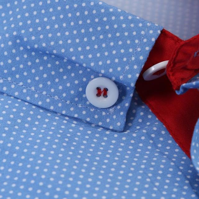 Для мужчин s Повседневное футболка с коротким рукавом Бизнес тонкая рубашка в горошек Блузка Топ Для мужчин рубашка короткий рукав хлопок # GH30 4
