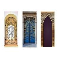 2pcs/set 3d Muslim Creative Door Sticker Arabic Style Personalized Wooden Door Family Decorative Wall Sticker door poster