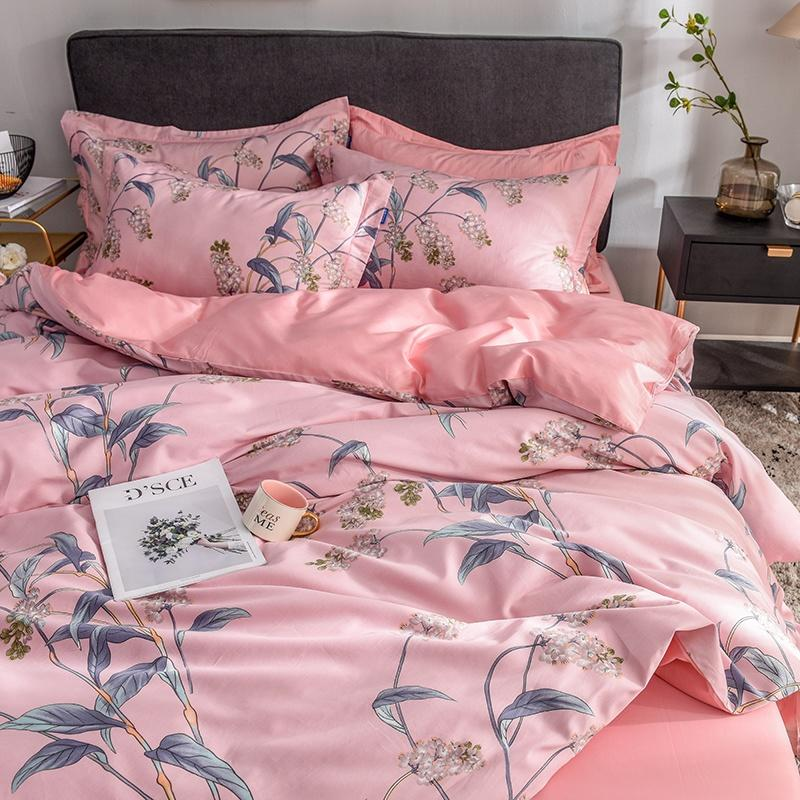 Pink Flower panicle Bedding Set satin-like cotton fabric Bed Set Egyptian cotton Bed Sheet Queen King size Duvet Cover SetPink Flower panicle Bedding Set satin-like cotton fabric Bed Set Egyptian cotton Bed Sheet Queen King size Duvet Cover Set