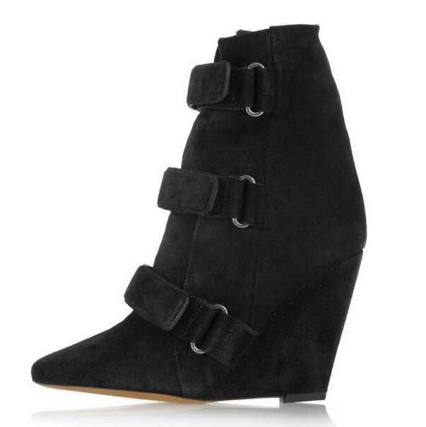 Autumn Winter Hook Wedges Boots Woman Height Increasing Ankle Boots Pointed toe Ankle Suede Boots Fashion Zapatos Mujer