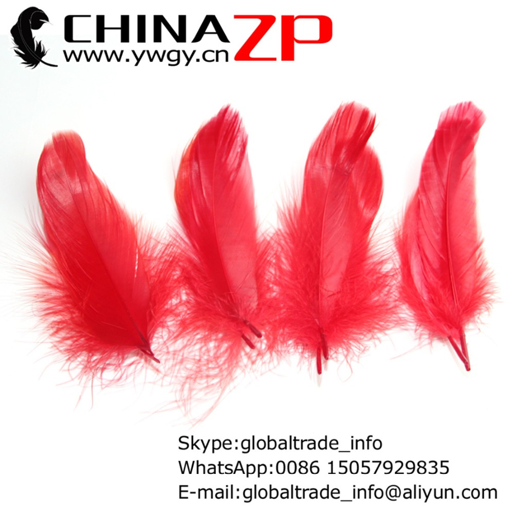 Gold Manufacturer CHINAZP Factory 100pcs/lot Cheap Wholesale Dyed Red Goose Nagoire Loose Feathers