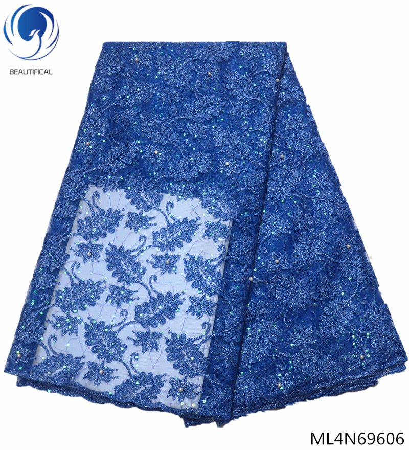 BEAUTIFICAL blue lace fabrics with sequins mesh laces fabric high quality tulle lace african material for evening dress ML4N696BEAUTIFICAL blue lace fabrics with sequins mesh laces fabric high quality tulle lace african material for evening dress ML4N696