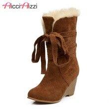 Купить с кэшбэком AicciAizzi Sexy Women High Wedges Boots Lace Up Plsuh Snow Boots Winter Warm Fur Shoes Women Office Lady Footwear Size 34-43