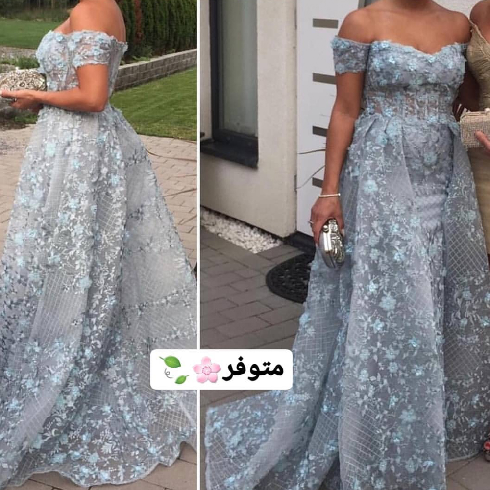 lace   prom     dresses   2019 sweetheart neckline hand made flowers lace appliques off the shoulder evening gowns