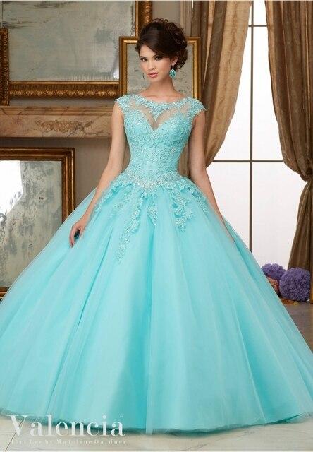 40aa853464 Sencillo Aguamarina Vestidos de Quinceañera Barato cuello Alto de Encaje  Apliques Vestido De Fiesta de 15