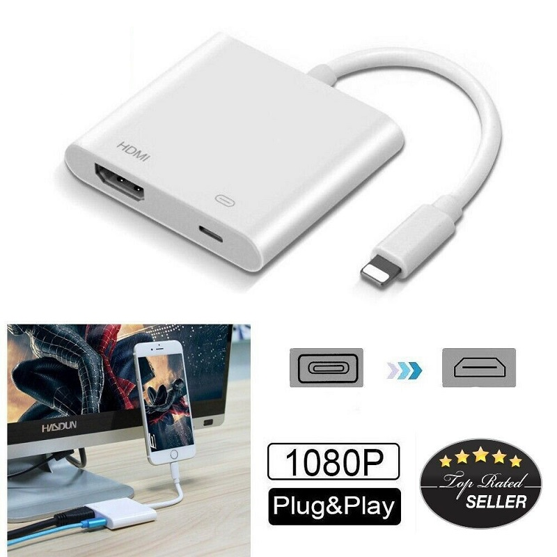 iOS 10-13 White Lighting to HDMI Adapter,Digital AV Adapter with Lighting Charging Port for HD TV Monitor Projector 1080P Compatible with iPhone Xs MAX//XS//XR//X//8//7 Plus//iPad