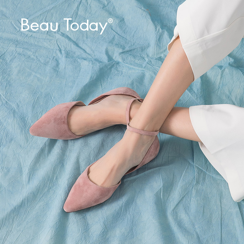 BeauToday Flat Sandals Women Kid Suede Leather Sweet Pink Pointed Toe Ankle Strap Cover Heel Summer