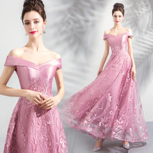 Its YiiYa Prom Dress Embroidery Flowers Bling Crystal Long Party Gowns Formal Boat Neck Off The Shoulder Evening Dresses E187