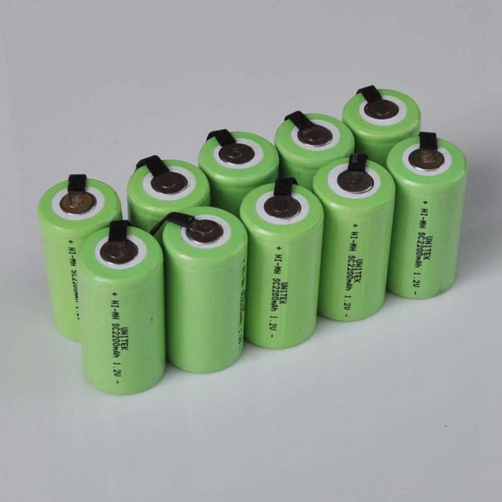 10-16 шт. 1,2 в Ni-MH SC аккумуляторная батарея 2200 мАч Sub C nimh ячейка с сварочными вкладками для электродрель отвертка электроинструментов