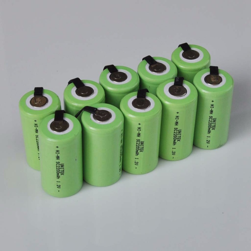 10-16PCS 1.2V Ni-Mh SC Rechargeable Battery 2200mah Sub C Nimh Cell With Welding Tabs For Electric Drill Screwdriver Power Tools