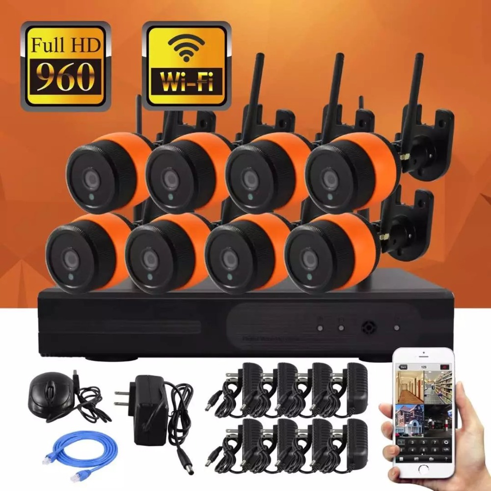 8CH 960P HD Wireless Network/IP Security Camera System WIFI NVR Kits,8PCS 1.3 Megapixel Wireless Indoor/Outdoor Bullet IP Camera