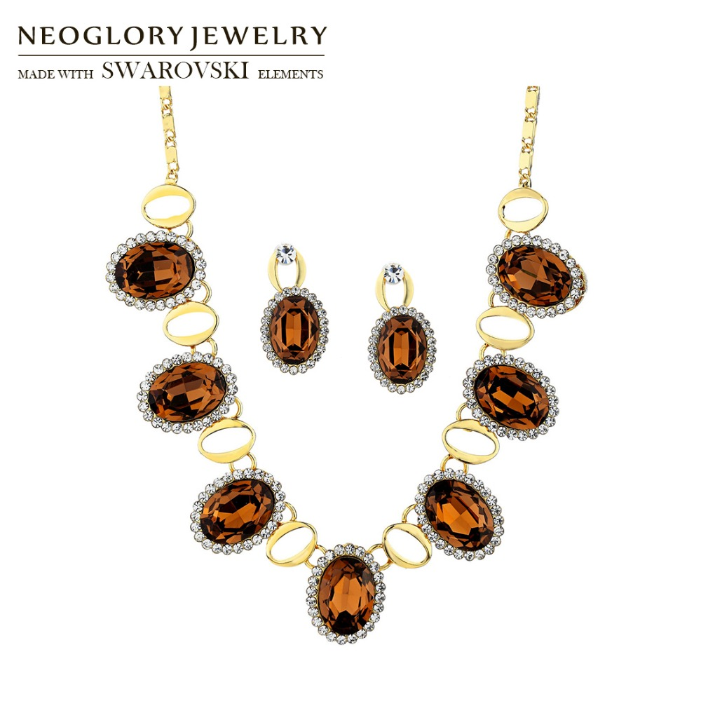 Jewelry-Set Rhinestone Oval-Shaped Earrings Necklace Crystal Vintage-Style Austria Party