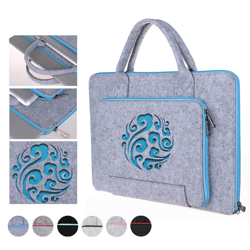 Carved Computer bag for Macbook air 13 pro 13 case Wool Felt Laptop Sleeve for HP Dell <font><b>Asus</b></font> Xiaomi 11 13 14 <font><b>15</b></font> <font><b>15</b></font>.6 17.3 inch image
