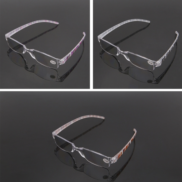 Unisex Clear Stripe Rimless Flexible Reading Glasses Eyewear Reader +1.00 ~+4.00