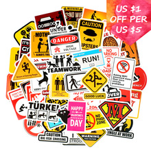 50Pcs Warning Stickers For Suitcase Skateboard Laptop Phone Bicycle Motorcycle Car Accessories Announcement Waterproof