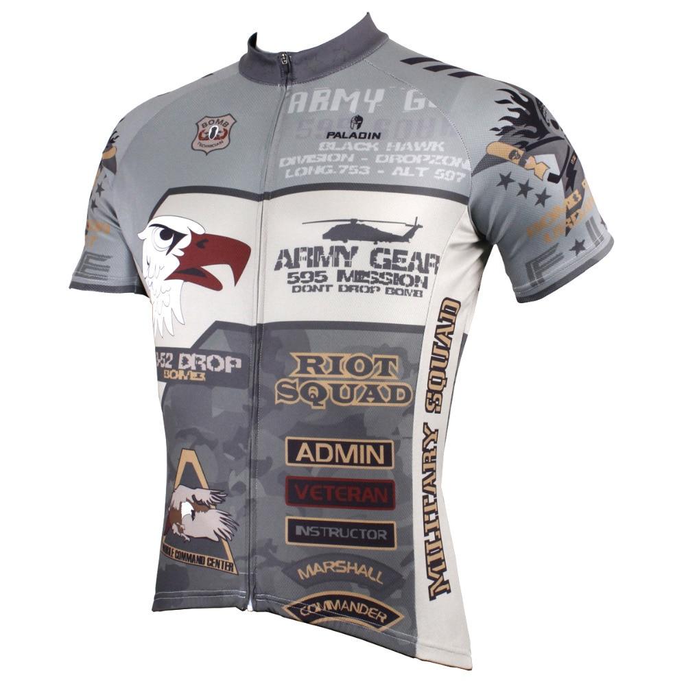 Muži Polyester Krátký rukáv Cyklistika Jersey Plešatý Orel Prodyšné Cyklistické oblečení Šedá Maskovací Cyklistika Oblečení Velikost S-6XL